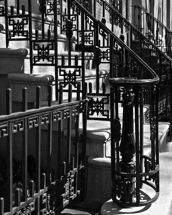 Stairway Poster featuring the photograph New York City Wrought Iron by Rona Black