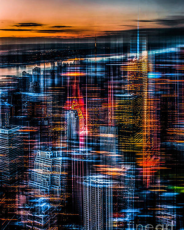 Nyc Poster featuring the photograph New York- The Night Awakes - Orange by Hannes Cmarits