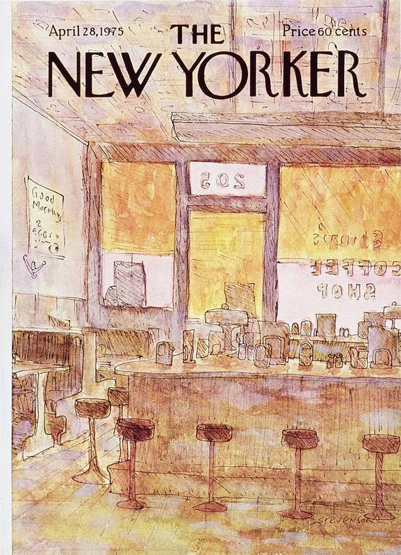 Illustration Poster featuring the painting New Yorker April 28th 1975 by James Stevenson