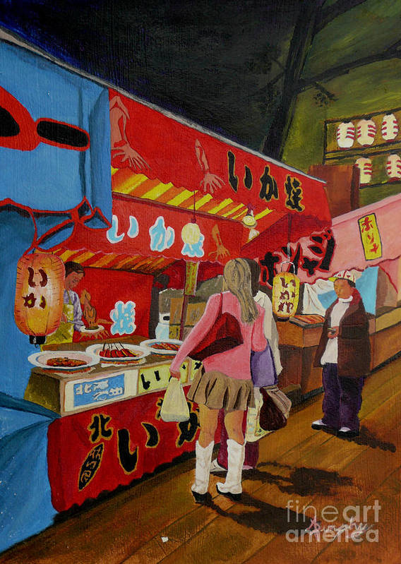 Japan Poster featuring the painting Night Festival by Anthony Dunphy