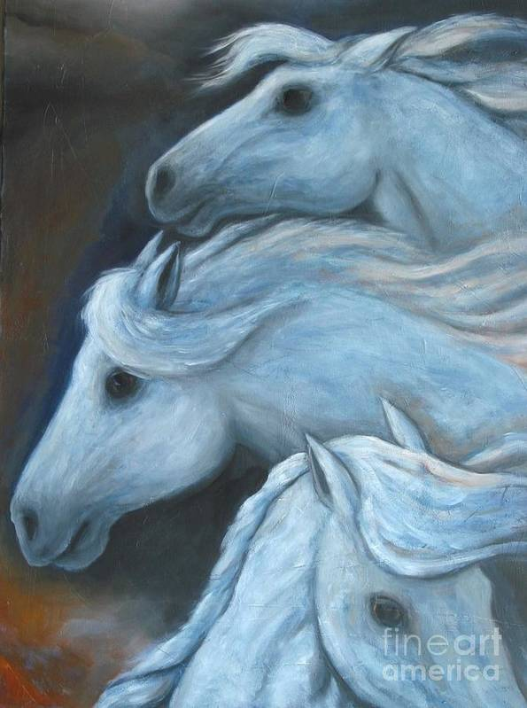 Horses Poster featuring the painting Night Horses by Barbara Psimas
