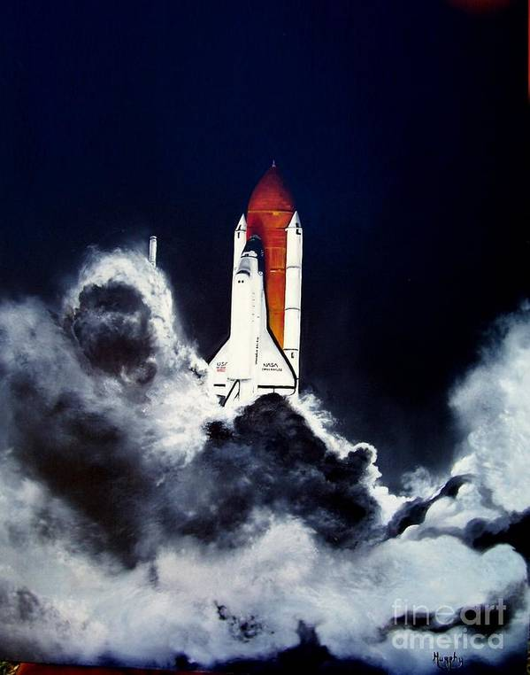 Oil Poster featuring the painting Night Launch by Murphy Elliott