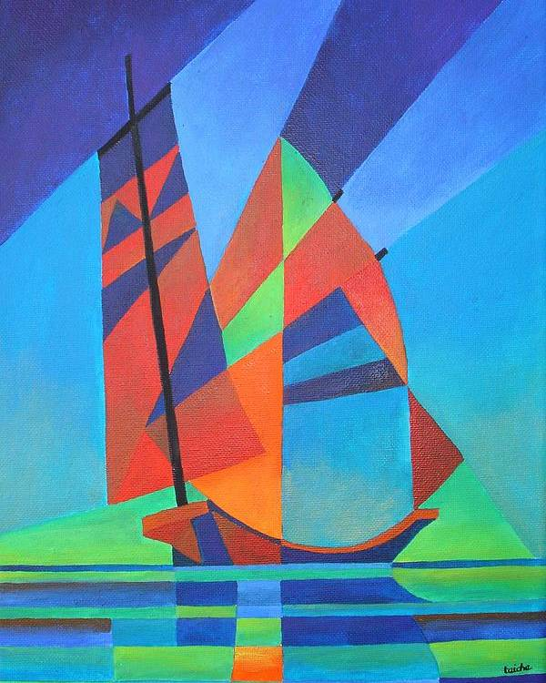 Sailboat Poster featuring the painting Nightboat by Tracey Harrington-Simpson