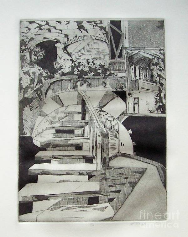 Etching Poster featuring the drawing Nightdream by Linda Frank