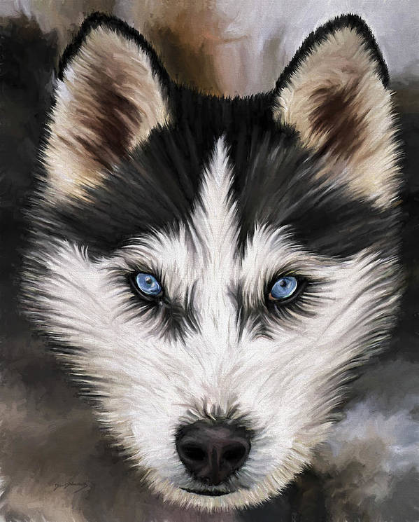 Dog Art Poster featuring the painting Nikki by David Wagner