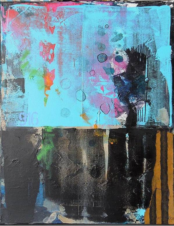Abstract Mixed Media Collage On Canvas Poster featuring the mixed media Nine One Six by Jo Ann Brown-Scott