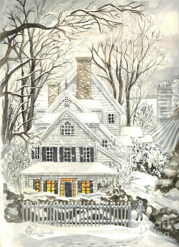Christmas Cards - Featured Art Poster featuring the painting No Place Like Home For The Holidays by Carol Wisniewski