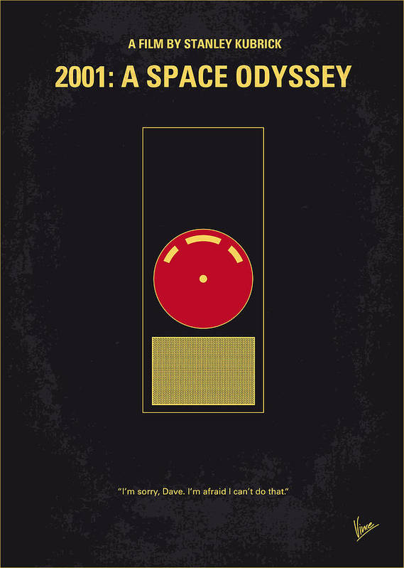 2001: A Space Odyssey Poster featuring the digital art No003 My 2001 A space odyssey 2000 minimal movie poster by Chungkong Art
