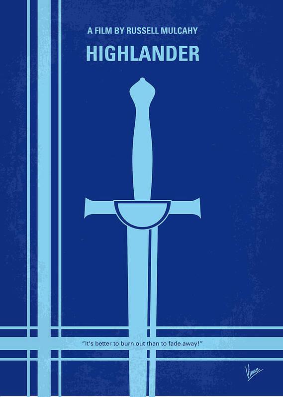 Highlander Poster featuring the digital art No034 My Highlander Minimal Movie Poster.jpg by Chungkong Art