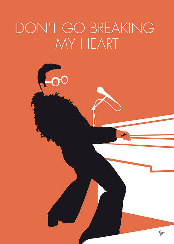 Elton Poster featuring the digital art No053 MY ELTON JOHN Minimal Music poster by Chungkong Art