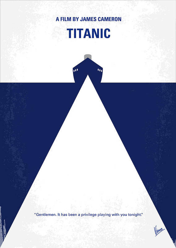 Titanic Poster featuring the digital art No100 My Titanic Minimal Movie Poster by Chungkong Art