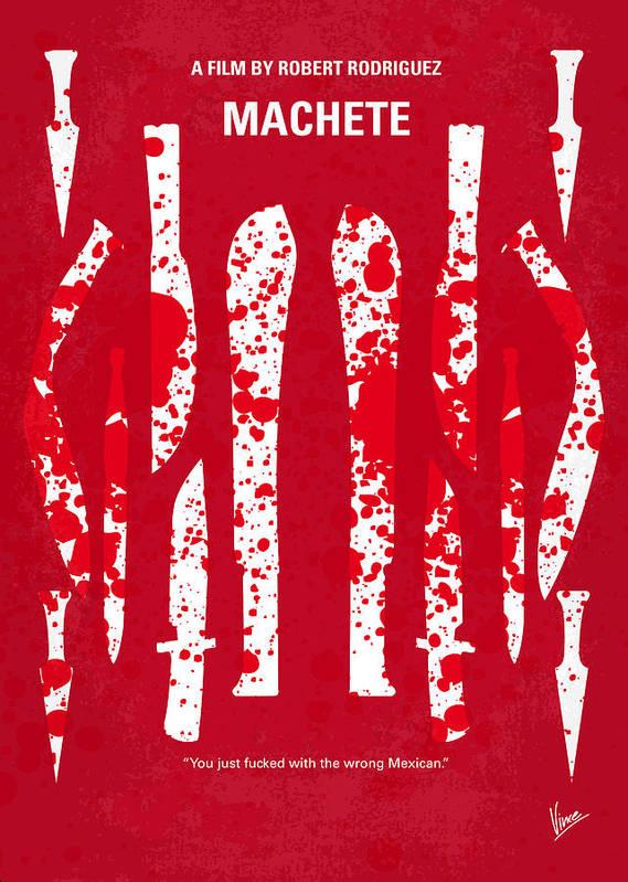 Machete Poster featuring the digital art No114 My Machete Minimal Movie Poster by Chungkong Art