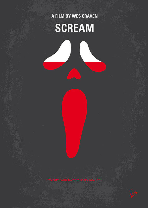 Scream Poster featuring the digital art No121 My Scream Minimal Movie Poster by Chungkong Art
