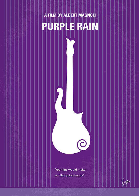 Purple Poster featuring the digital art No124 My Purple Rain Minimal Movie Poster by Chungkong Art