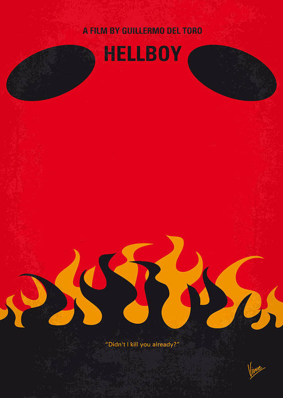 Hellboy Poster featuring the digital art No131 My Hellboy Minimal Movie Poster by Chungkong Art