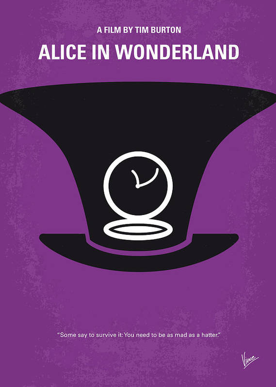 Alice Poster featuring the digital art No140 My Alice In Wonderland Minimal Movie Poster by Chungkong Art