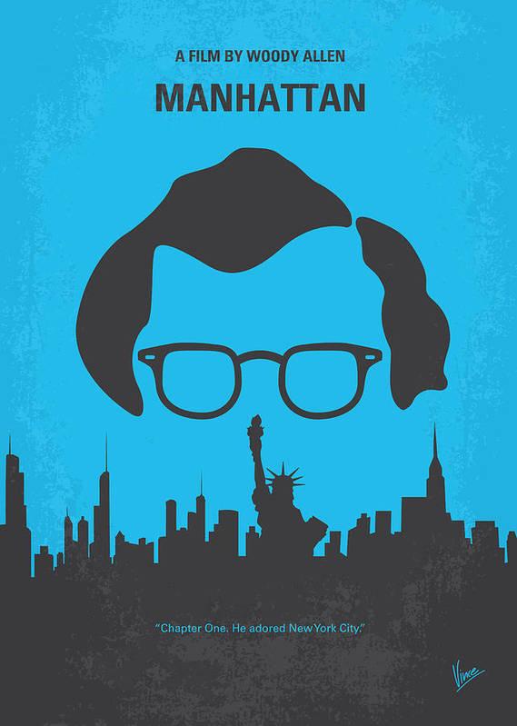 Manhattan Poster featuring the digital art No146 My Manhattan Minimal Movie Poster by Chungkong Art