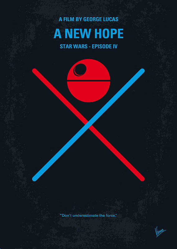 Star Poster featuring the digital art No154 My Star Wars Episode Iv A New Hope Minimal Movie Poster by Chungkong Art