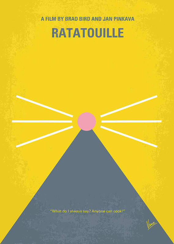Ratatouille Poster featuring the digital art No163 My Ratatouille Minimal Movie Poster by Chungkong Art