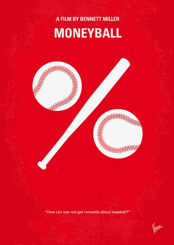 Moneyball Poster featuring the digital art No191 My Moneyball Minimal Movie Poster by Chungkong Art
