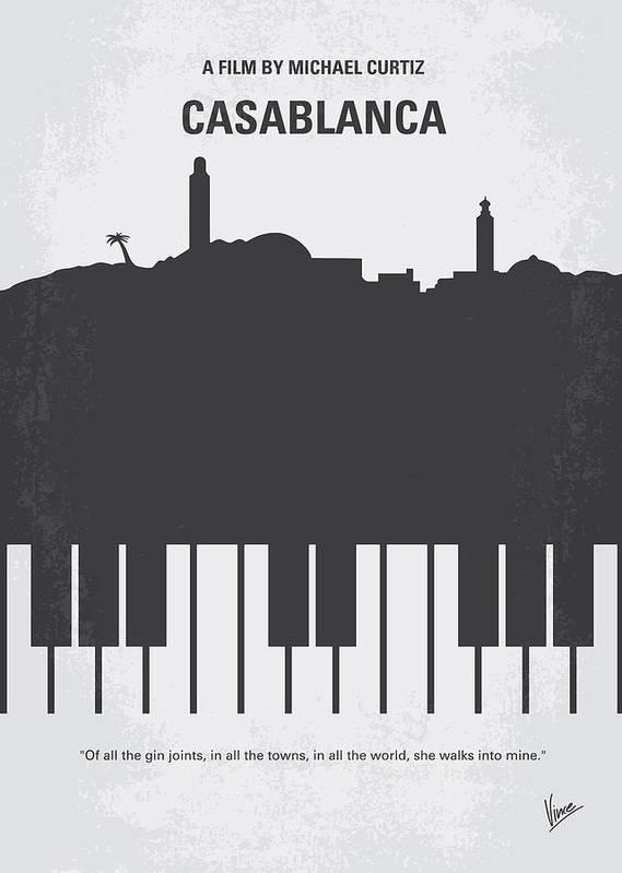 Casablanca Poster featuring the digital art No192 My Casablanca Minimal Movie Poster by Chungkong Art