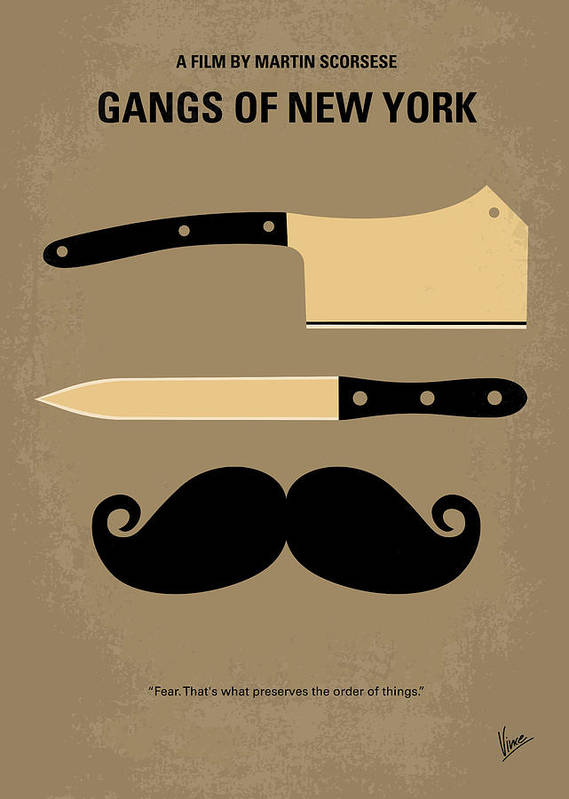 Gangs Poster featuring the digital art No195 My Gangs Of New York Minimal Movie Poster by Chungkong Art