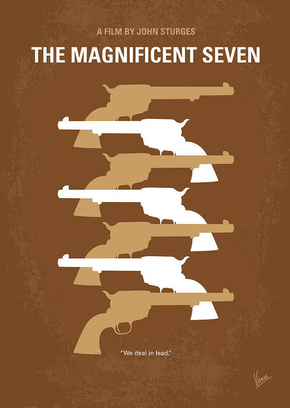 Magnificent Poster featuring the digital art No197 My The Magnificent Seven Minimal Movie Poster by Chungkong Art