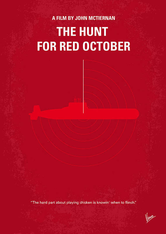 Hunt Poster featuring the digital art No198 My The Hunt For Red October Minimal Movie Poster by Chungkong Art