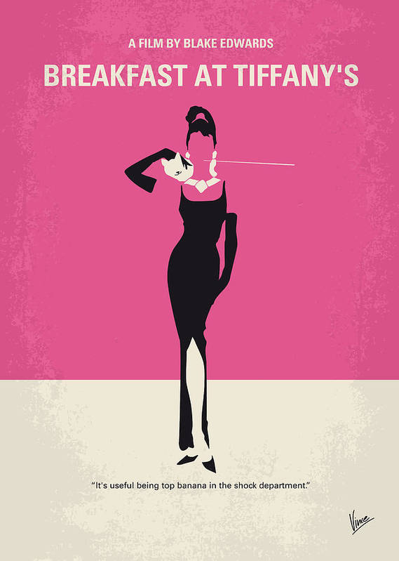 Breakfast Poster featuring the digital art No204 My Breakfast At Tiffanys Minimal Movie Poster by Chungkong Art