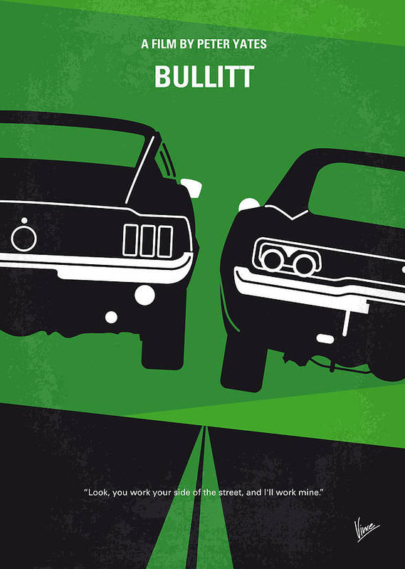 Frank Poster featuring the digital art No214 My Bullitt Minimal Movie Poster by Chungkong Art