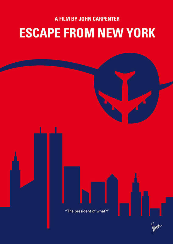 Escape Poster featuring the digital art No219 My Escape From New York Minimal Movie Poster by Chungkong Art