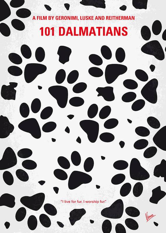 101 Poster featuring the digital art No229 My 101 Dalmatians Minimal Movie Poster by Chungkong Art
