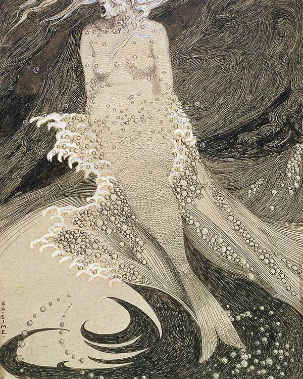 Drawing Poster featuring the drawing The Mermaid by Sidney Herbert Sime