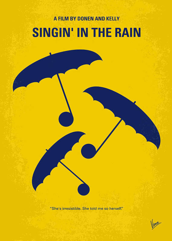 Singin Poster featuring the digital art No254 My Singin In The Rain Minimal Movie Poster by Chungkong Art