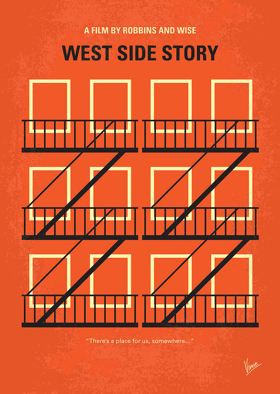 West Poster featuring the digital art No387 My West Side Story Minimal Movie Poster by Chungkong Art