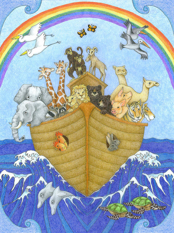 Noah's Ark Poster featuring the drawing Noah's Ark by Alison Stein