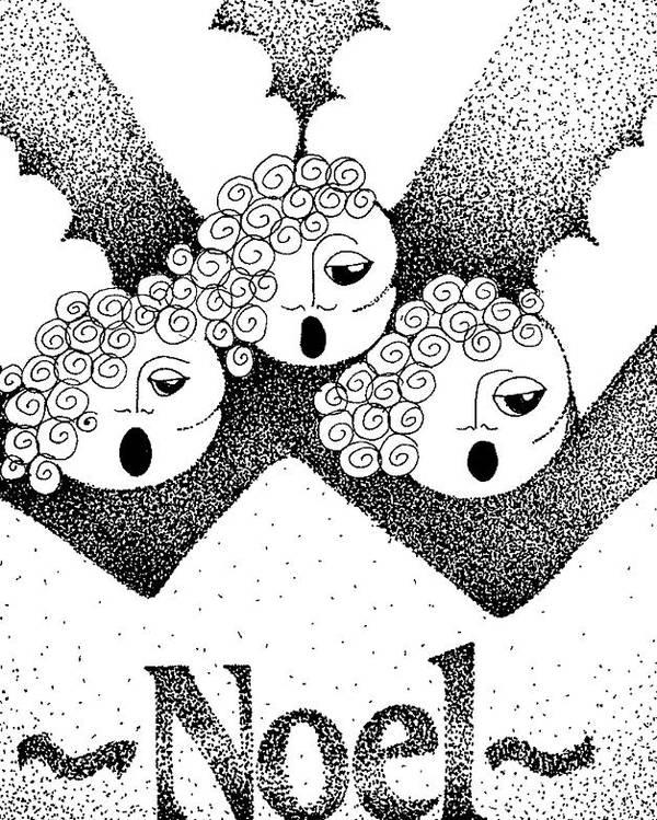 Noel Design Poster featuring the drawing Noel Angels by Joy Bradley