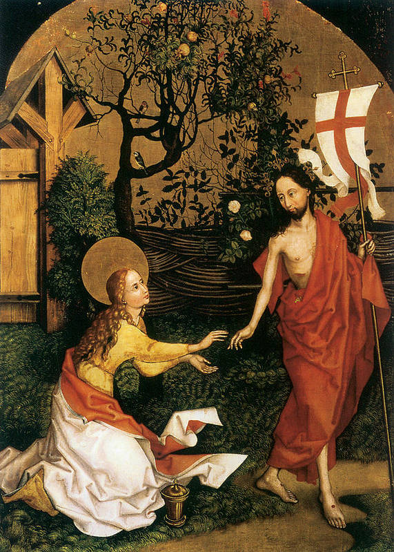 Martin Schongauer Poster featuring the painting Noli Me Tangere by Martin Schongauer