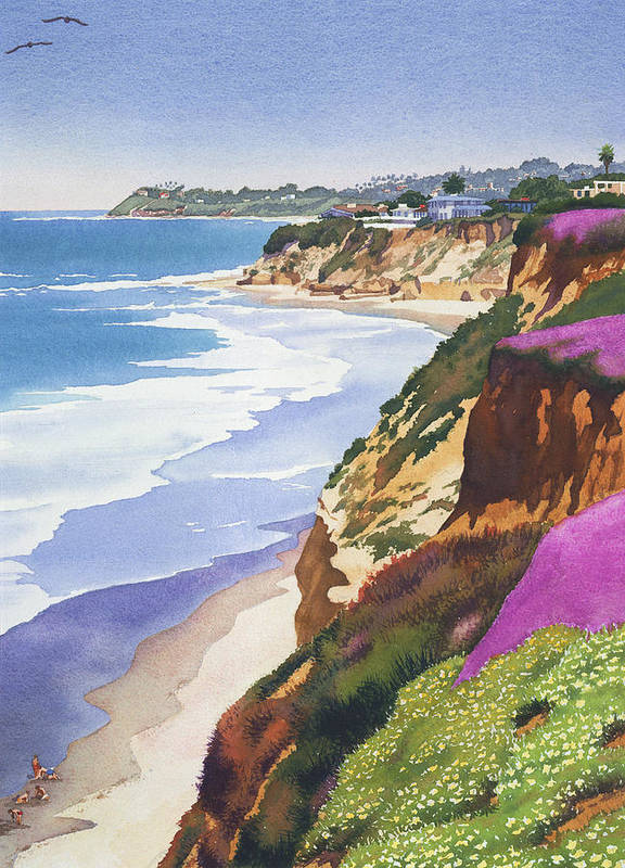 North County Poster featuring the painting North County Coastline by Mary Helmreich