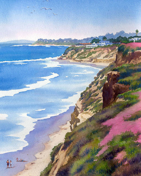 North County Poster featuring the painting North County Coastline Revisited by Mary Helmreich