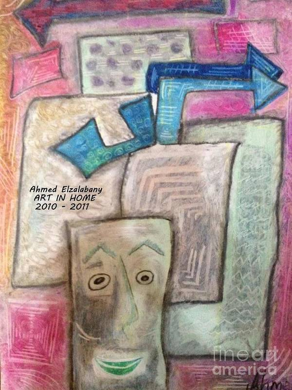 Drawn By The Artist Ahmed Elzalabany In ( Art In Home Studio ) 2009 - 2010 Poster featuring the pastel Nots Of Poems by Ahmed Elzalabany