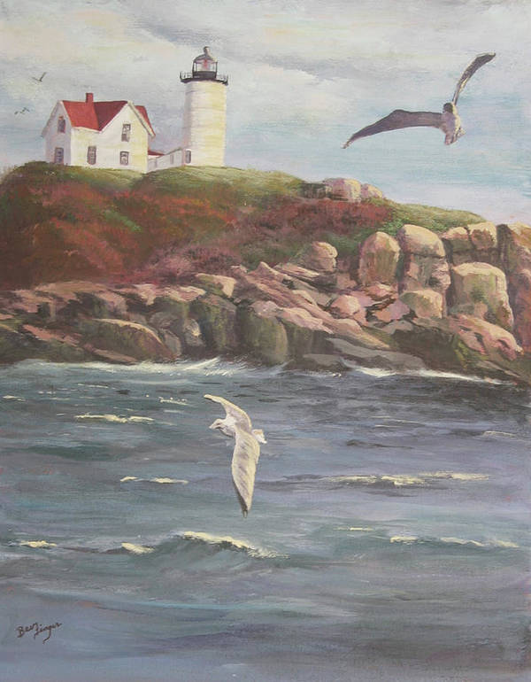 Maine Sea Shore Poster featuring the painting Nubble Lighthouse by Bev Finger