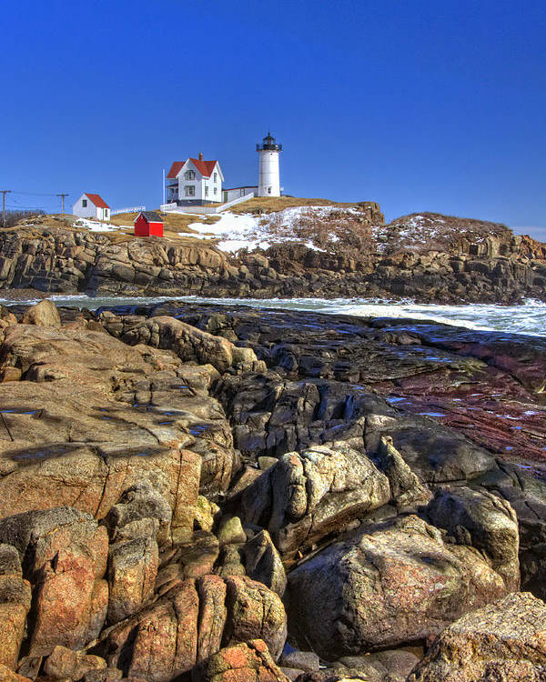 Water Poster featuring the photograph Nubble Lighthouse by Joann Vitali