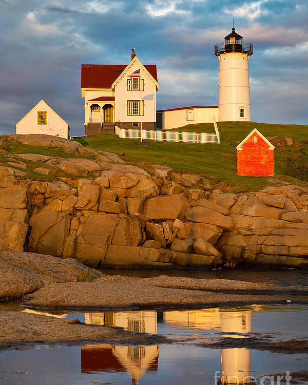 Atlantic Ocean Poster featuring the photograph Nubble Lighthouse No 1 by Jerry Fornarotto