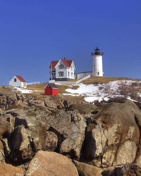 Water Poster featuring the photograph Nubble's Rocky Coastline by Joann Vitali