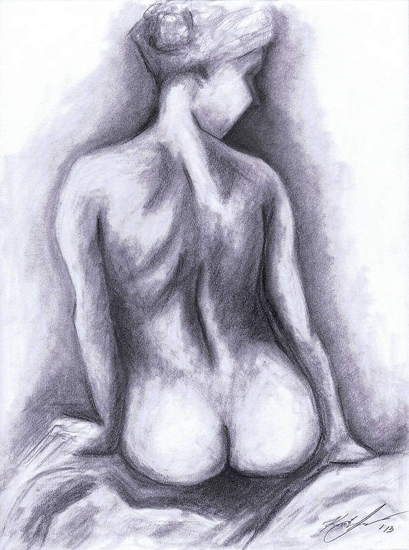 Nude Poster featuring the drawing Nude Drawing 01 by Kamil Swiatek
