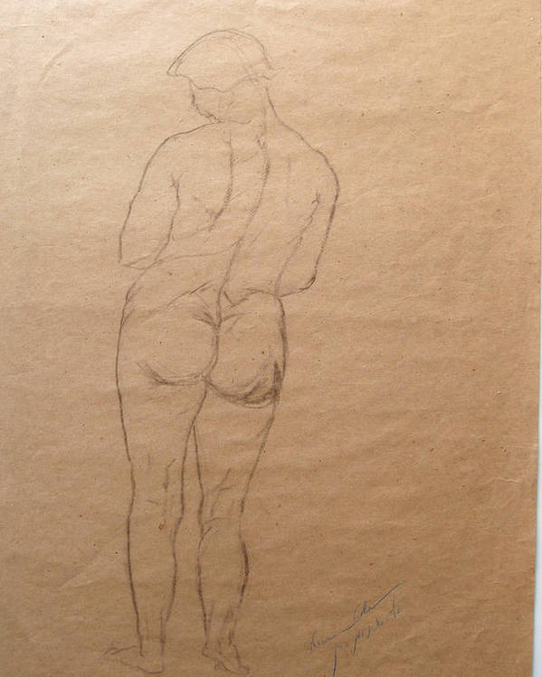 Nude From Back Poster featuring the drawing Nude From Back by Esther Newman-Cohen