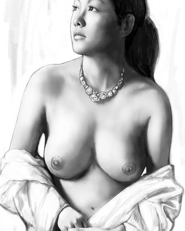 Nude Girl Drawing Art Sketch Poster featuring the painting Nude Girl Drawing Art Sketch - 12 by Kim Wang