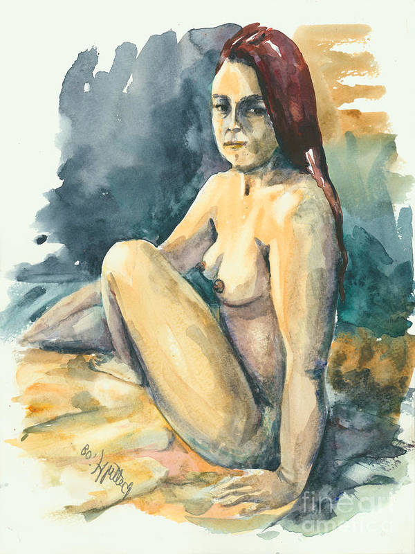 Nude Poster featuring the painting Nude II by Elisabeta Hermann