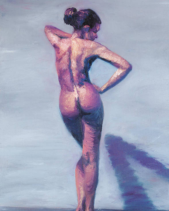 Nude Poster featuring the painting Nude Woman In Finger Strokes by Shelley Irish